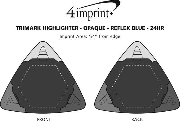 Imprint Area of TriMark Highlighter - Opaque - Reflex Blue - 24 hr