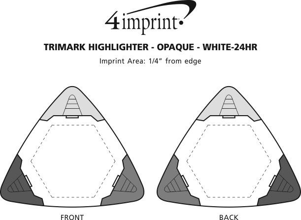 Imprint Area of TriMark Highlighter - Opaque - White - 24 hr