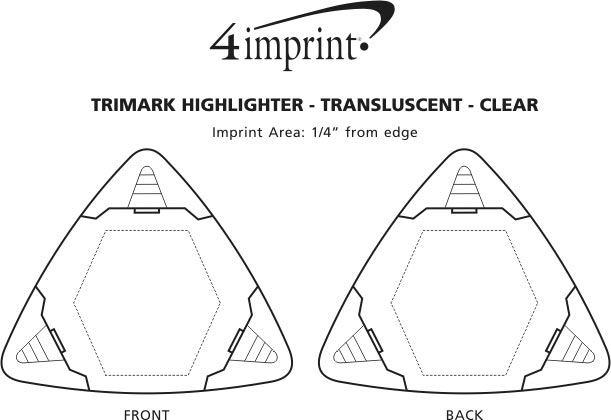 Imprint Area of TriMark Highlighter - Translucent - Clear