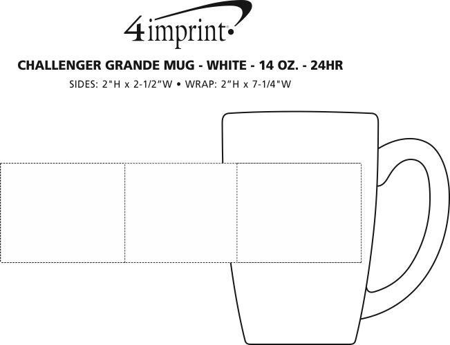 Imprint Area of Challenger Grande Mug - White - 14 oz. - 24 hr