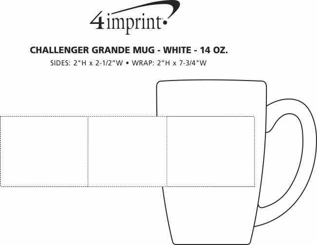 Imprint Area of Challenger Grande Mug - White - 14 oz.