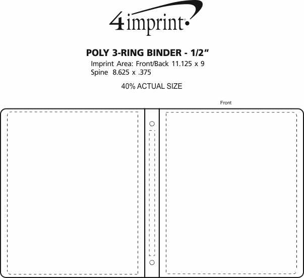 Imprint Area of Poly 3-Ring Binder - 1/2""