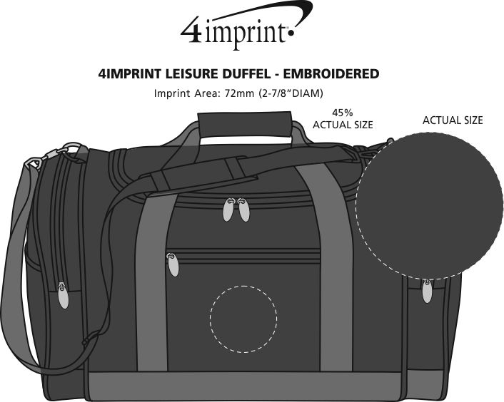 Imprint Area of 4imprint Leisure Duffel - Embroidered - 24 hr