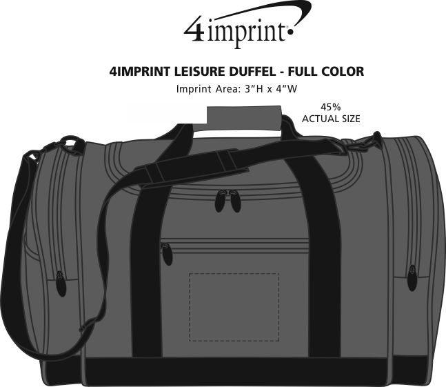 Imprint Area of 4imprint Leisure Duffel - Full Color