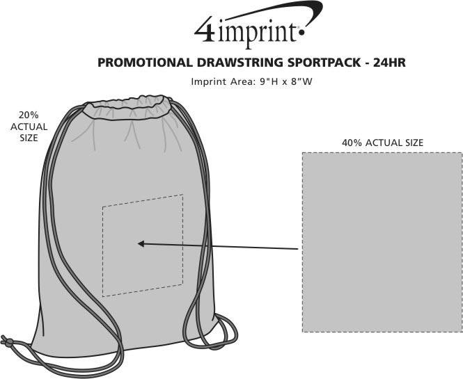 Imprint Area of Promotional Drawstring Sportpack - 24 hr