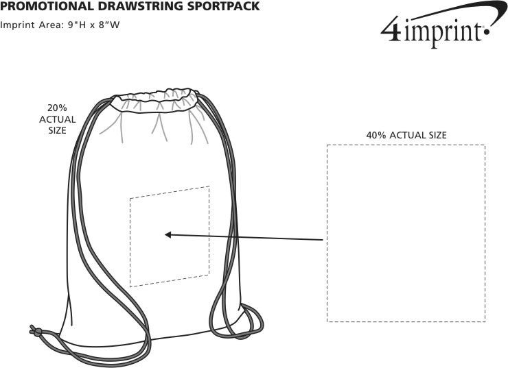 Imprint Area of Promotional Drawstring Sportpack