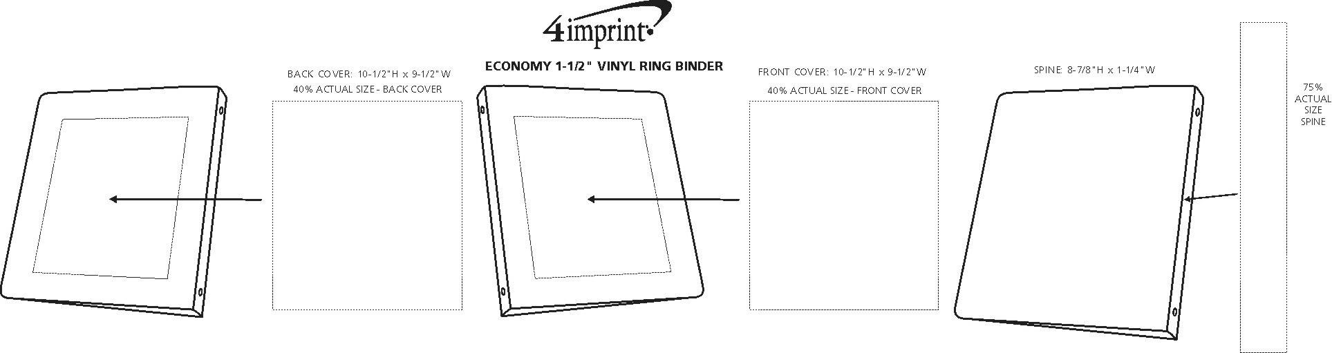 """Imprint Area of Economy 1-1/2"""" Vinyl Ring Binder"""
