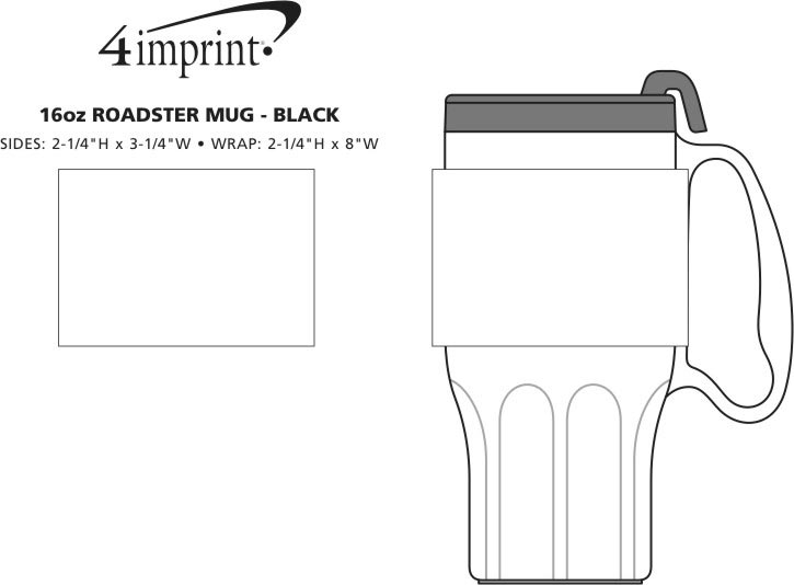 Imprint Area of Roadster Mug - 16 oz. - Black Lid