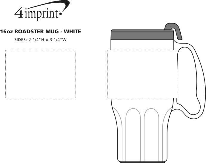 Imprint Area of Roadster Mug - 16 oz. - White Lid
