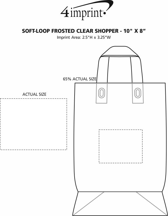 """Imprint Area of Soft-Loop Frosted Clear Shopper - 10"""" x 8"""""""