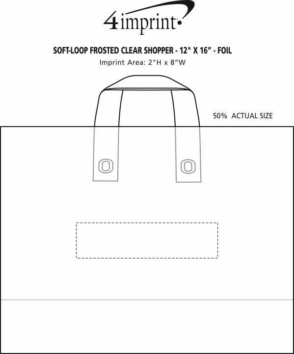 """Imprint Area of Soft-Loop Frosted Clear Shopper - 12"""" x 16"""""""