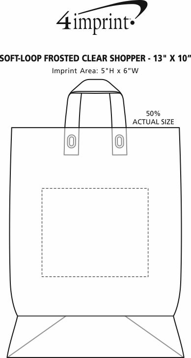"""Imprint Area of Soft-Loop Frosted Clear Shopper - 13"""" x 10"""" - Foil"""