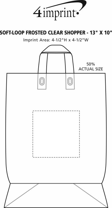 "Imprint Area of Soft-Loop Frosted Clear Shopper - 13"" x 10"""