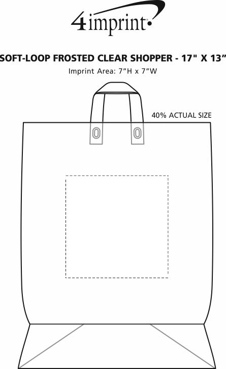 """Imprint Area of Soft-Loop Frosted Clear Shopper - 17"""" x 13"""" - Foil"""