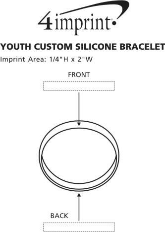 Imprint Area of Youth Custom Silicone Bracelet