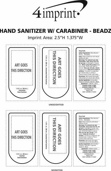 Imprint Area of Moisture Bead Sanitizer with Carabiner