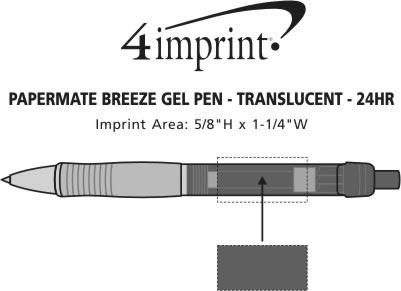 Imprint Area of Paper Mate Breeze Gel Pen - Translucent - 24 hr