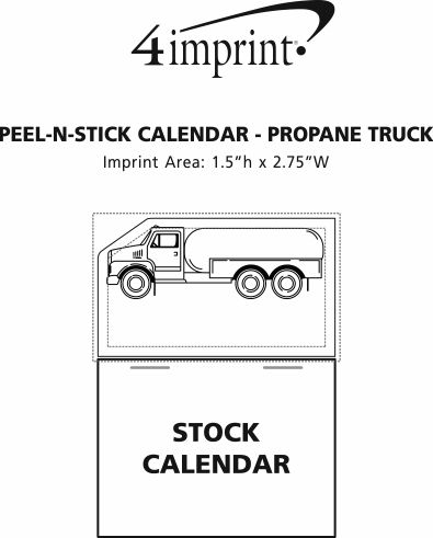 Imprint Area of Peel-N-Stick Calendar - Propane Truck