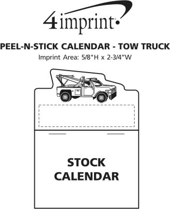 Imprint Area of Peel-N-Stick Calendar - Tow Truck