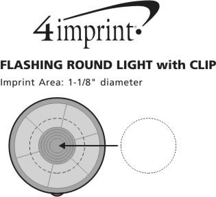 Imprint Area of Flashing Round Light with Clip
