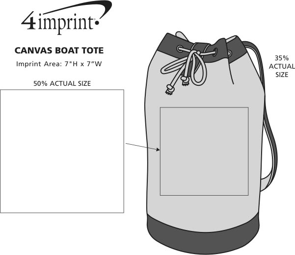 Imprint Area of Canvas Sling Boat Tote