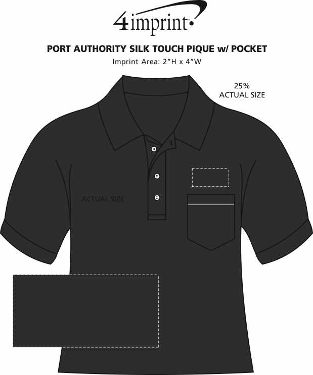 Imprint Area of Silk Touch Pique Shirt with Pocket