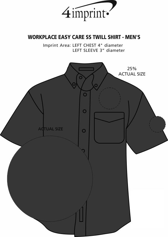 Imprint Area of Workplace Easy Care SS Twill Shirt - Men's