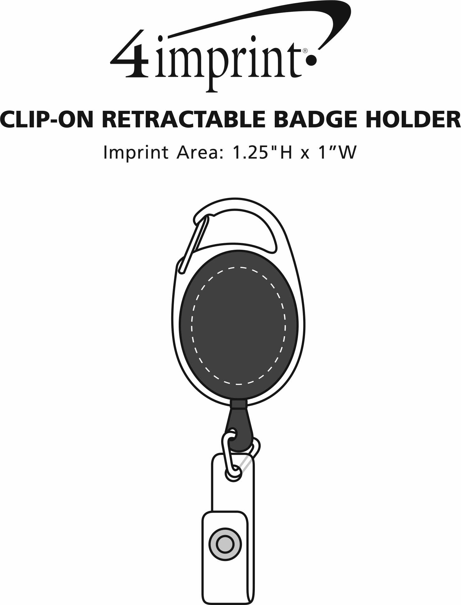 Imprint Area of Clip-On Retractable Badge Holder - Translucent
