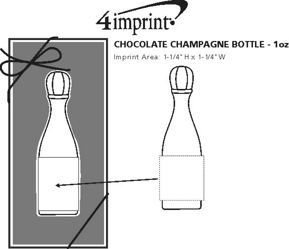 Imprint Area of Chocolate Champagne Bottle - 1 oz.