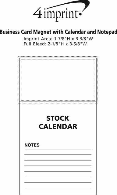 Imprint Area of Bic Magnet with Calendar and Lined Notes