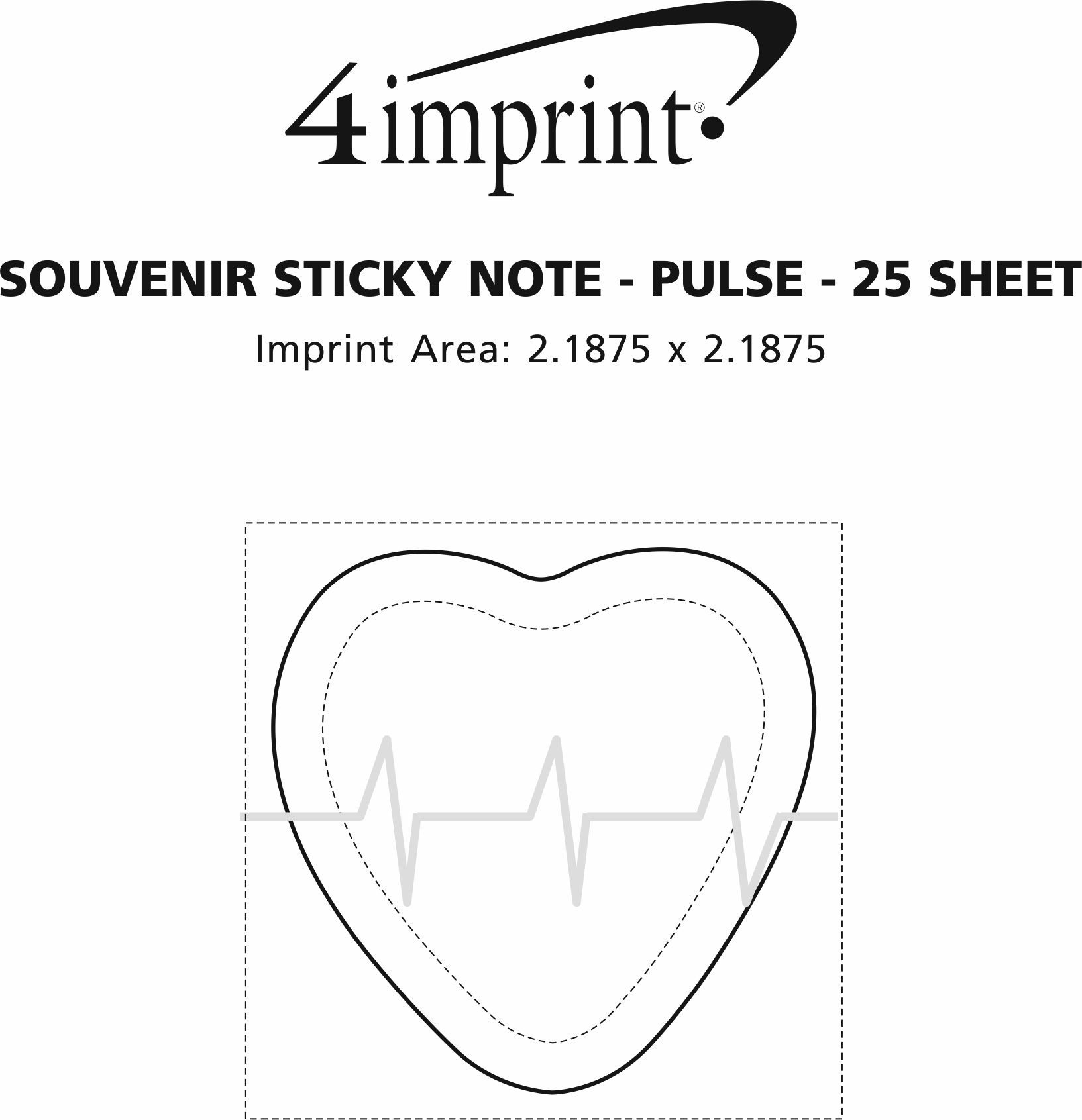 Imprint Area of Bic Sticky Note - Pulse - 25 Sheet - Stock Design