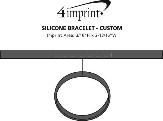 Imprint Area of Custom Silicone Bracelet - Low Qty