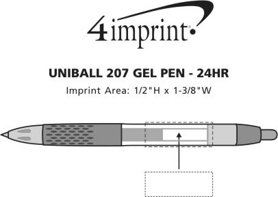 Imprint Area of uni-ball 207 Gel Pen - 24 hr