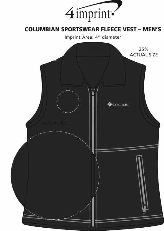 Imprint Area of Columbia Sportswear Fleece Vest - Men's