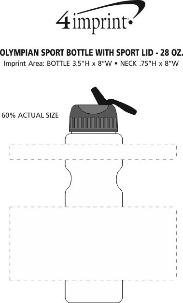 Imprint Area of Olympian Bottle with Sport Lid - 28 oz.