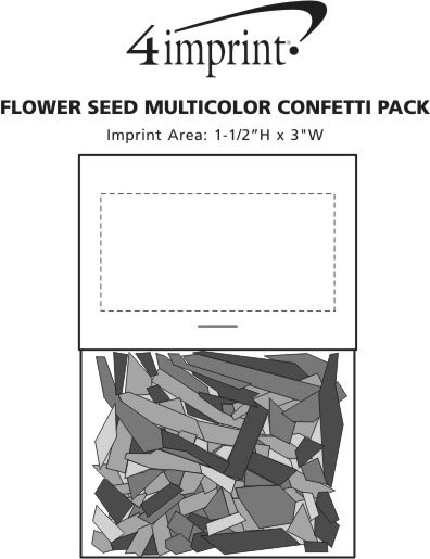 Imprint Area of Flower Seed Multicolor Confetti Pack