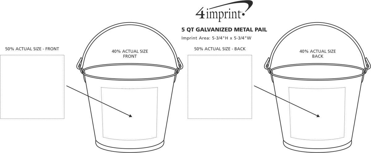 Imprint Area of 5 qt. Galvanized Metal Pail