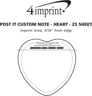 Imprint Area of Post-it® Custom Notes - Heart - 25 Sheet