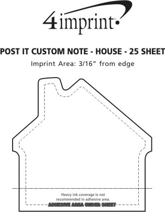 Imprint Area of Post-it® Custom Notes - House - 25 Sheet