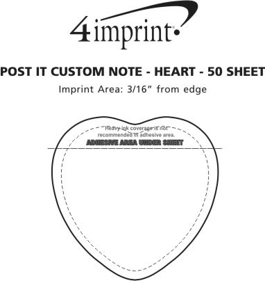 Imprint Area of Post-it® Custom Notes - Heart - 50 Sheet