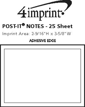 """Imprint Area of Post-it® Notes - 3"""" x 4"""" - 25 Sheet"""