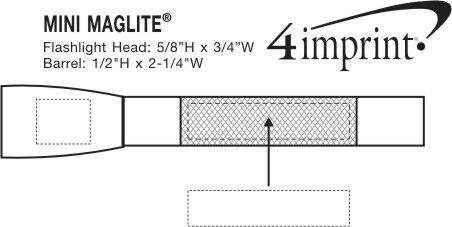 "Imprint Area of Mini MagLite Flashlight - 5-3/4"" - Camo"