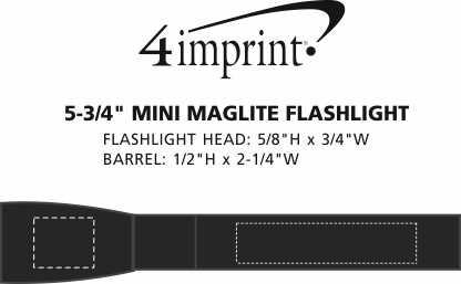 "Imprint Area of Mini MagLite Flashlight - 5-3/4"""