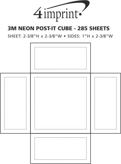 Imprint Area of Neon Post-it® Cubes - 285 Sheets