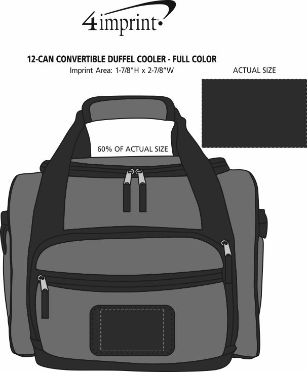 Imprint Area of 12-Can Convertible Duffel Cooler - Full Color
