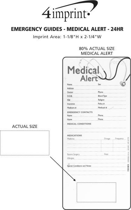 Imprint Area of Emergency Guide - Medical Alert - 24 hr