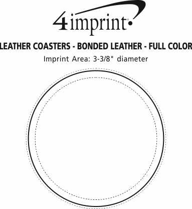 Imprint Area of Leather Coasters - Bonded Leather - Full Color