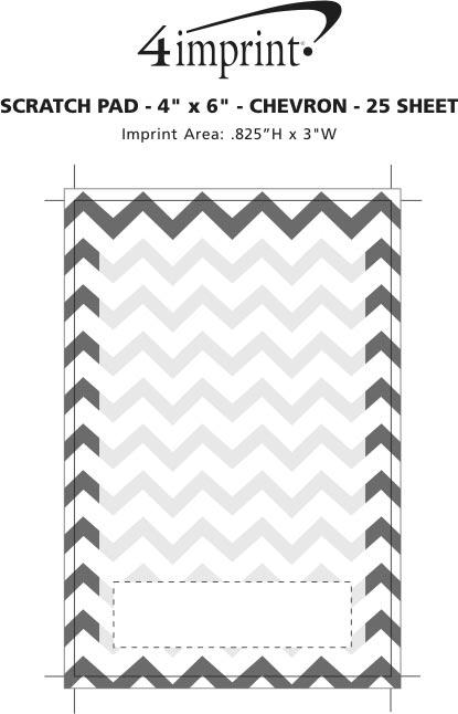 "Imprint Area of Scratch Pad - 6"" x 4"" - Chevron - 25 Sheet"