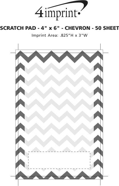"Imprint Area of Scratch Pad - 6"" x 4"" - Chevron - 50 Sheet"