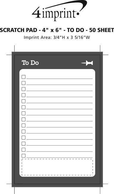 """Imprint Area of Scratch Pad - 6"""" x 4"""" - To Do - 50 Sheet"""